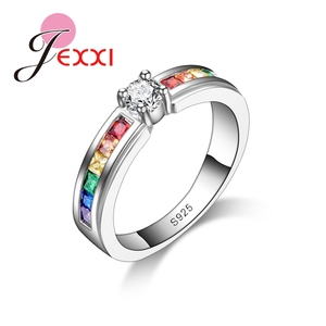 Real 925 Sterling Silver Various Colors Round Colorized Crystal Women Wedding Rings CZ Fashion Jewelry Ladies Accessories(China)