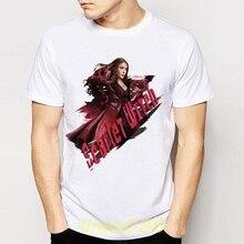 aff93db2c42 Летний стиль Алая ведьма фокусировки полномочия Принт футболки мужские  короткий рукав футболки для мальчиков Прохладный Новинка