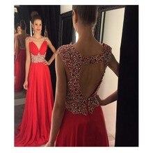 Hohe Qulaity A-linie Red Long Prom Kleid Mit Sequind Und Kristall Chiffon Abendkleid vestidos de para festa formatura longo