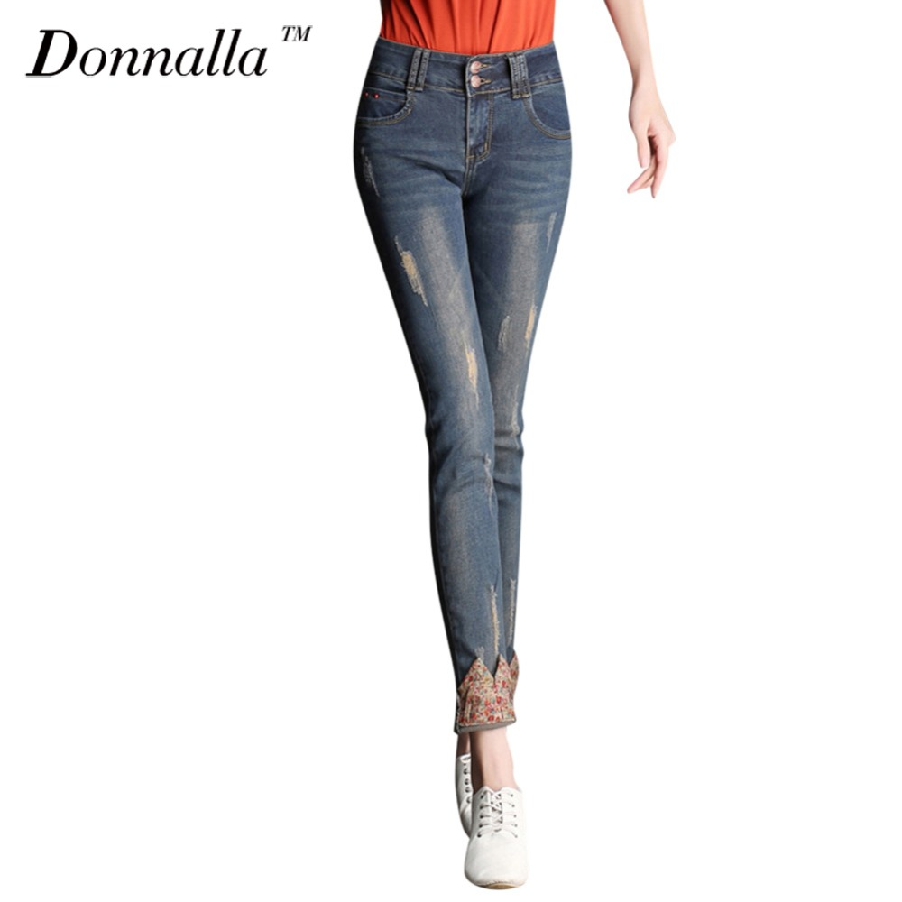цена на Donnalla Women Jeans Mid Waist Jeans Full Length Trousers Elastic Skinny Jeans Female Pencil Pants Woman Jeans Women Slim Pants