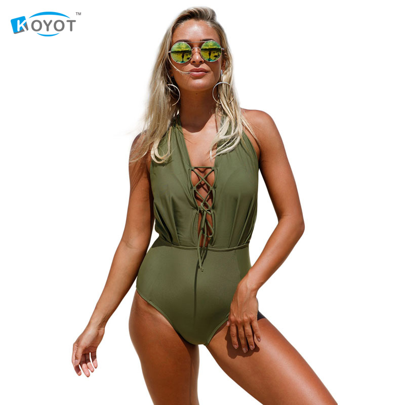 Summer Swimwear Women 2017 Sexy Brazilian Lace Up Halter One Piece Swimsuit High Cut LC410205 Banadores De Mujer brief candy color lace up one piece swimwear for women