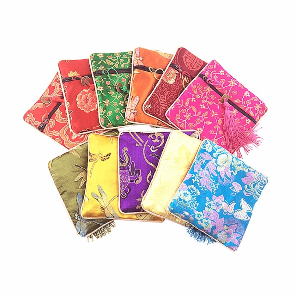 50pcs Embroidery Jewelry Gift Pouch Silk Jewelry Storage Organizer Bag Flower Decoration Chinese Styles