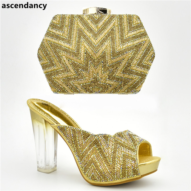 African Shoes and Bag Set for Party Italian Nigerian Women Wedding Shoes  and Bag Set Decorated with Rhinestone Luxury Women Shoe 68f8a5aa2888