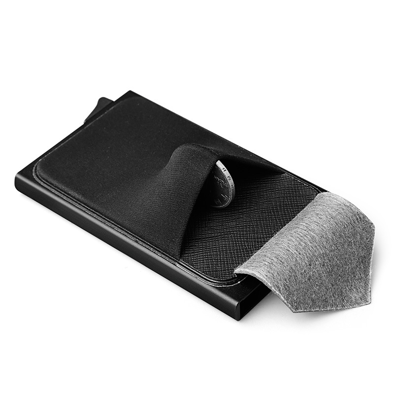 Aluminum Wallet men With Back Pocket ID Card Holder RFID Blocking Mini Slim Metal Wallet Automatic Pop up Credit Card Coin Purse
