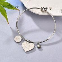 Nextvance – Bracelets simples en forme de cœur pour femme, bijoux en acier inoxydable avec des cartes, des dessins animés et des lettres en pierre CZ, idéal pour tous les jours