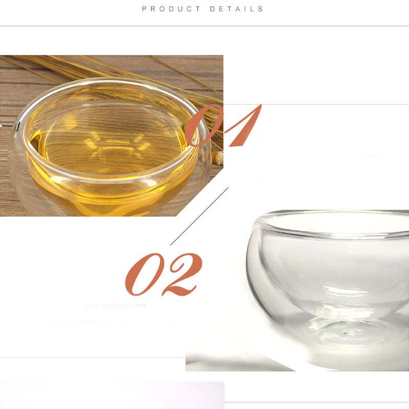 Tea-Set Transparent Glass Heat-Resistant Insulation Double-Wall-Glass 50ML 6pcs Kung-Fu