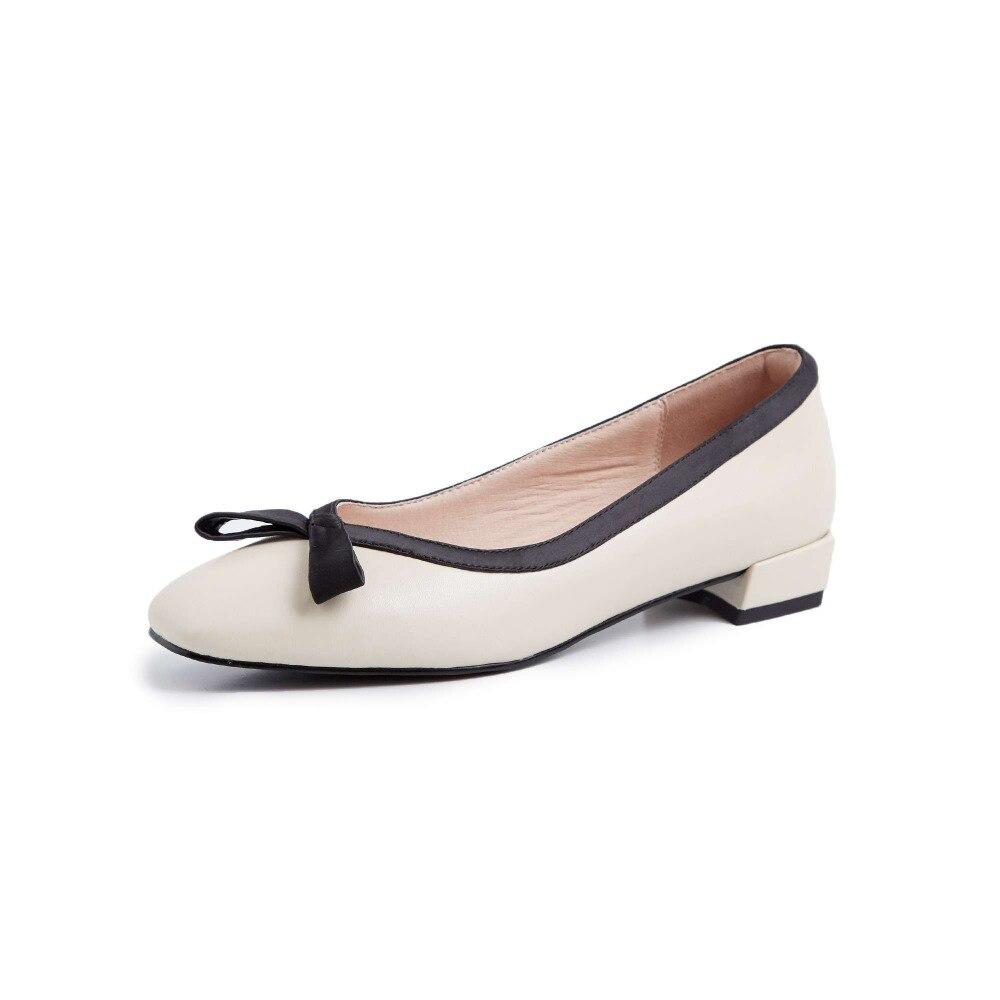2019 봄 가을 레저 신발 혼합 된 색상 클래식 광장 발가락 부드러운 정품 가죽 낮은 발 뒤꿈치 bowtie 임신 한 여자 신발 l07-에서여성용 펌프부터 신발 의  그룹 2