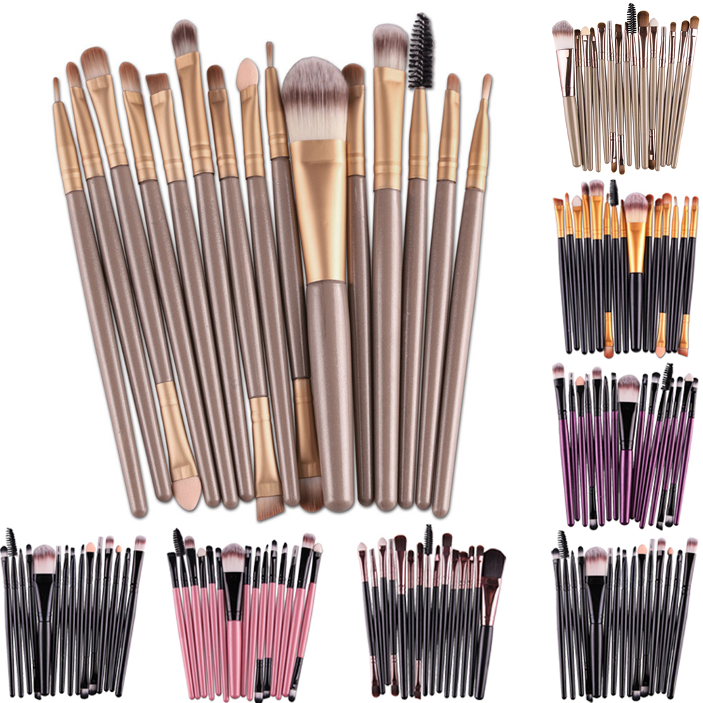 15gab Makup birstes Set Instrumenti Make-up tualetes piederumu komplekts Brand Make Up Brush Set Pincel Maleta De Maquiagem 7colors Ziemassvētku dāvana