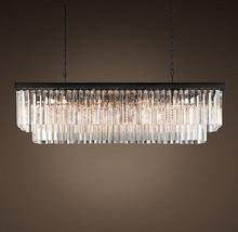 T 2016 Yeni Büyük E14 LED Kristal Lüks Dikdörtgen Kolye işık Modern Yaratıcı Demir Lambaları Yemek Odası Fuaye için Ücretsiz nakliye