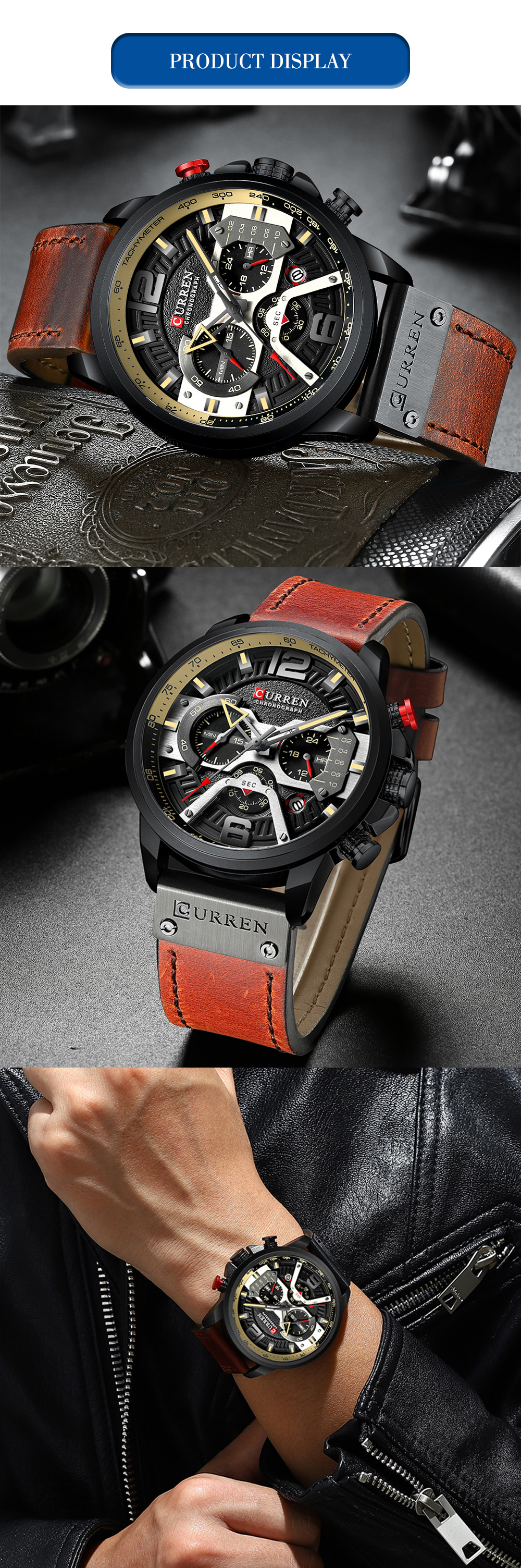 HTB1A h5KwHqK1RjSZFPq6AwapXat CURREN Casual Sport Watches for Men Blue Top Brand Luxury Military Leather Wrist Watch Man Clock Fashion Chronograph Wristwatch
