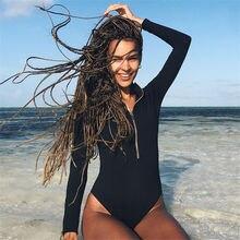 Сексуальный женский черный цельный купальник с длинным рукавом, купальник для серфинга, монокини, одежда для плавания