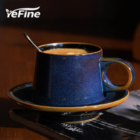 YeFine Superior Ceramic Tea Cup Set Porcelain Coffee Cups And Saucers Deep Blue Luxury Afternoon Teacups Drinkware Advanced Gift