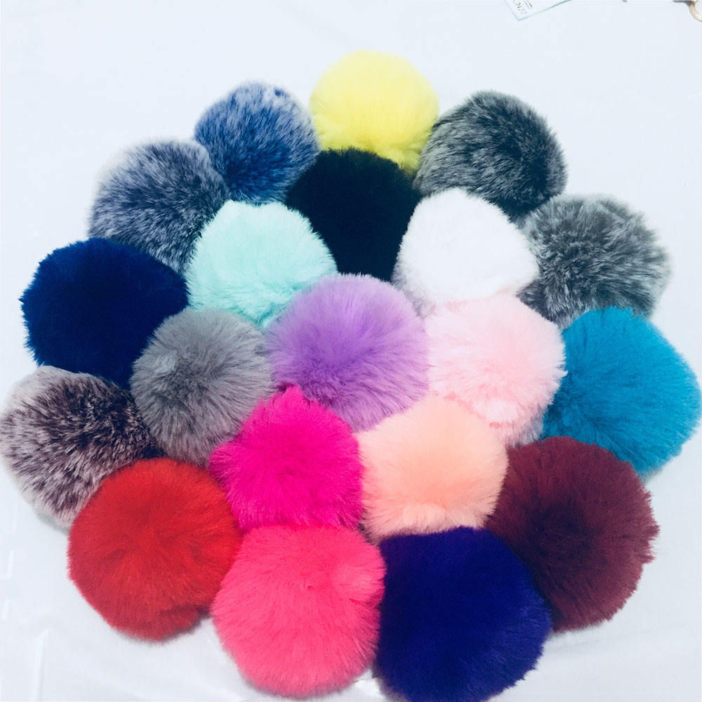 DIY 8CM Faux Rabbit Fur Pom Pom Ball Pompoms Cute Keychain Accessories