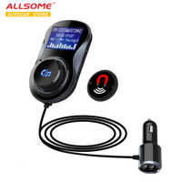 ALLSOME Bluetooth FM Transmitter Audio Car Mp3 Player Wireless In-Car FM Modulator Handsfree Bluetooth Car Kit with LCD Display