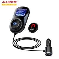 ALLSOME Bluetooth fm-передатчик Аудио Автомобильный MP3-плеер беспроводной в автомобиле fm-модулятор Handsfree Bluetooth автомобильный комплект с ЖК-дисплеем