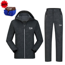 Males Daiwa Fishing Clothes Breathable Spring Winter Heat Fleece Sunproof Outside Sports activities Garments Fishing Jersey Pants with Towel