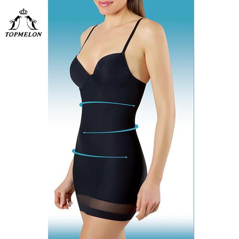 TOPMELON Women Slimming Underwear Control Slips Sexy Push Up Dress Body Shaper Shapewear Spaghetti Strap Waist Trainer Lingerie
