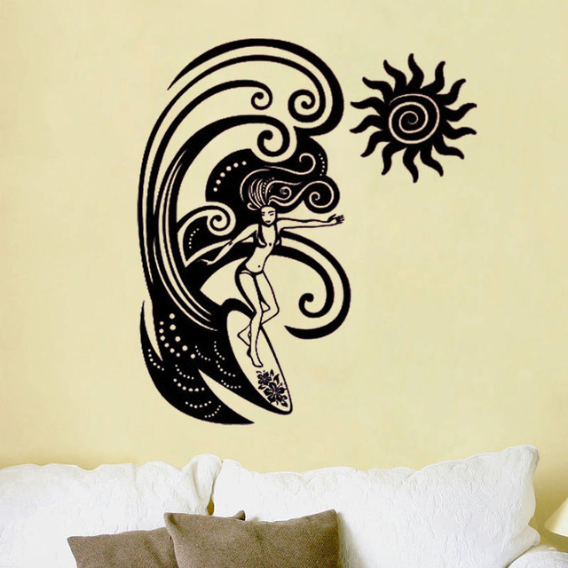 zooyoo creative surfing girl wall stickers home decor removable
