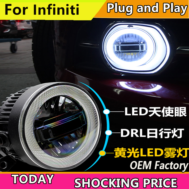 Car Styling for Infiniti QX30 QX50 QX56 QX60 QX70 QX80 LED Fog Light Auto Angel Eye Fog Lamp LED DRL 3 function model