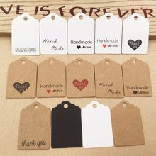 100pcs Kraft paper hand made tag with love for DIY Gift box tag candy cupcake thank you tags/handmade favors name brand tag(China)