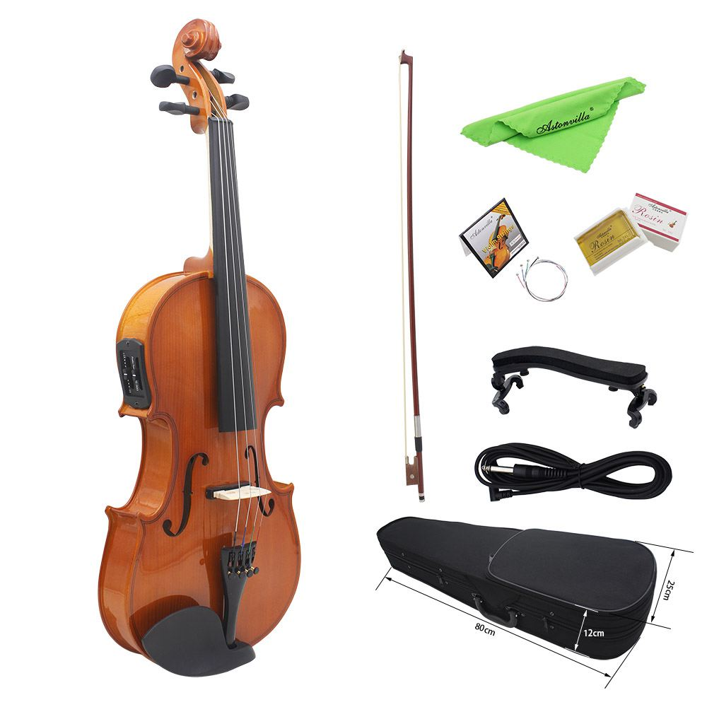 New Astonvilla AV-E03 4/4 Full Size Acoustic Violin Fiddle Kit Solid Wood Matte Finish Spruce Face Board 4-String Instrument 4 4 new 4 string electric acoustic violin solid wood nice sound brown color
