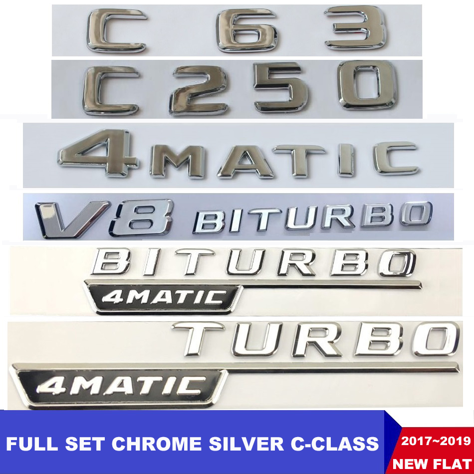 Flat Chrome W204 <font><b>W205</b></font> Emblem Sticker <font><b>C200</b></font> C250 C300 C350 C63 CLA Letter Auto Car Badge Star Logo Emblema For Mercedes Benz <font><b>AMG</b></font> image
