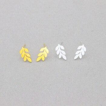 Venta al por mayor, 10 par/lote, pendientes simples de hoja de Laurel, pendientes de hojas de rama de acero inoxidable, pendientes para mujeres, joyería de moda