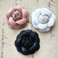 Free Shipping 10PCs Lot Handmade PU Fabric 3D Camellia Flower Craft Patch Sticker Fit Women Hair
