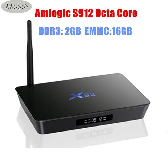 10pcs X92 S912 64bits TV BOX Octa Core 2GB+16GB Android 6.0 Marshmallow TV Box X92 Wifi Bluetooth atenna Flixster Miracast