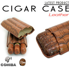men's COHIBA embossed leather humidor Travel cigar case portable tube hold 3 cigars Gadgets Smoke