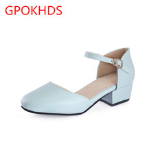 Big size 33-43 high quality hot sale 2017 new style women casual white color buckle strap high heels pumps sandals