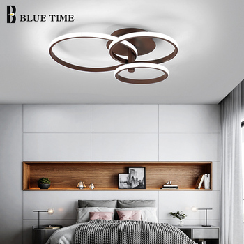 Blanco y Marco de café anillos luces de techo modernas para comedor sala de  estar habitación de estudio LED lámparas de techo para el hogar accesorios