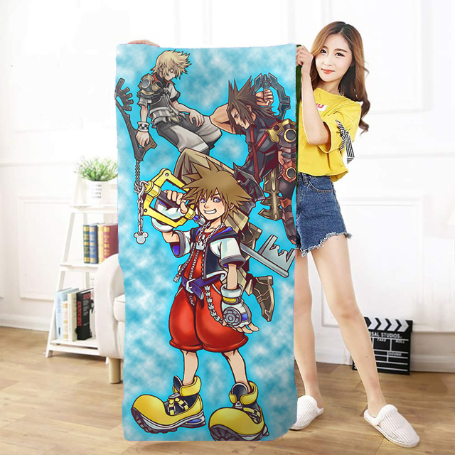 OHCOMICS 30*60cm/50*100cm/70*140cm Hot game kingdom hearts Sora Keyblade Travel Towel outdoors  Soothing Cotton Face Bath Towel