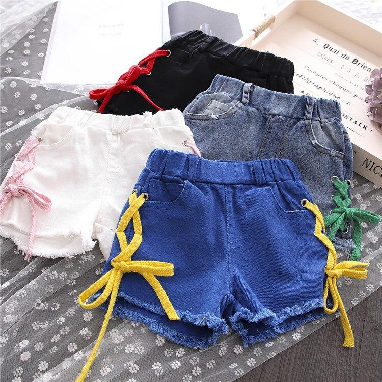 Calções de verão Meninas Listrado Crianças Menina Calças Jeans Curto ... 75e8365025f28