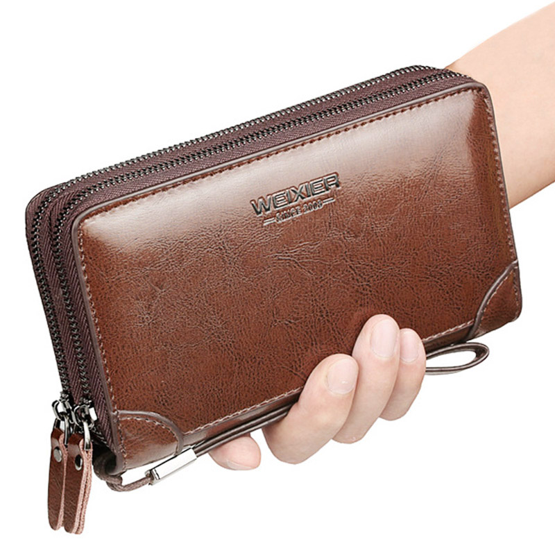 Brand Long Wallet Men Double Zipper Coin Pocket Purse Men Wallets Casual Business Card Holder Vintage Large Wallet Male Clutch(China)