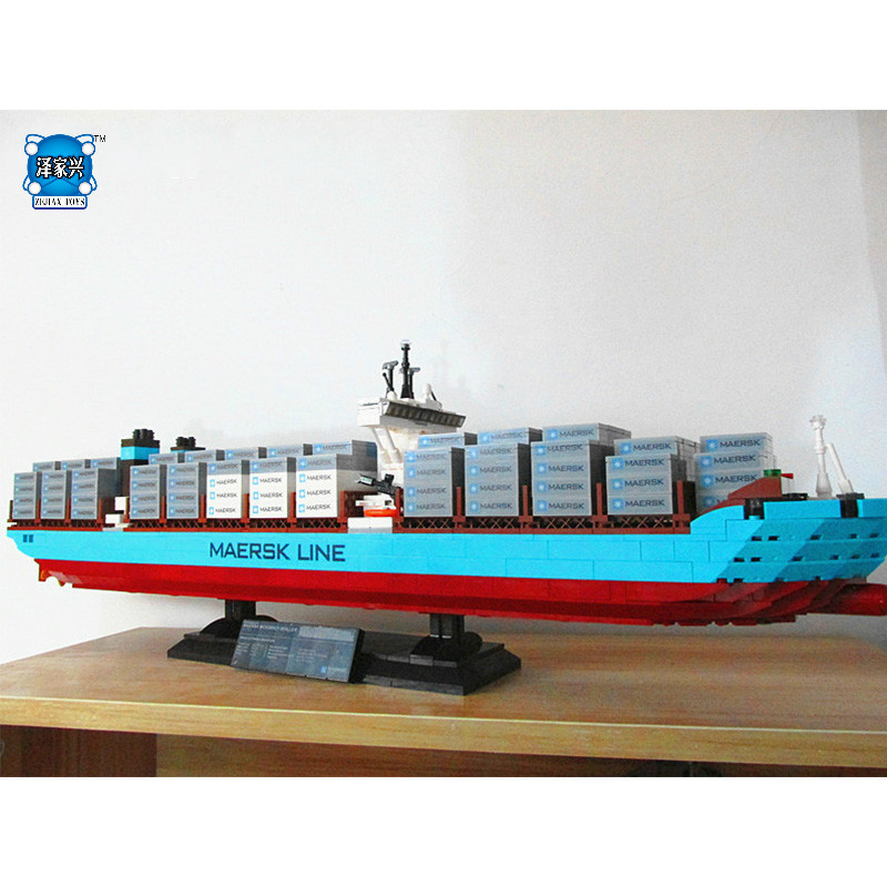 Genuine Technic Series The Maersk Cargo Container Ship Set Building DIY Blocks Bricks KID Educational Toys Compatible Lepins black pearl building blocks kaizi ky87010 pirates of the caribbean ship self locking bricks assembling toys 1184pcs set gift