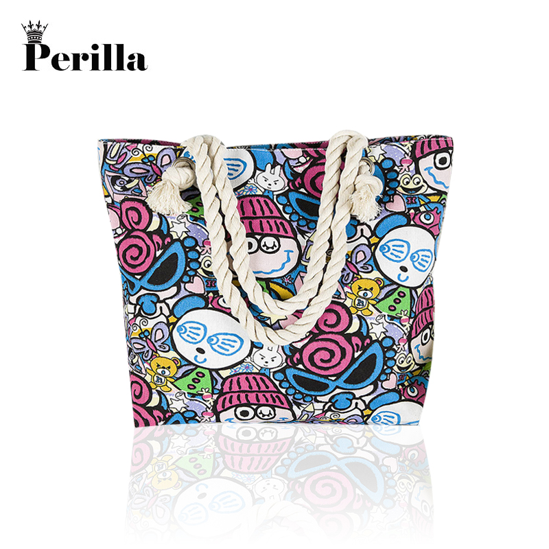 Perilla 2018 New Summer Women Canvas Shoulder Beach Bag Female Casual Tote Shopping Bag Big floral Messenger Bags Bohemian Style ...