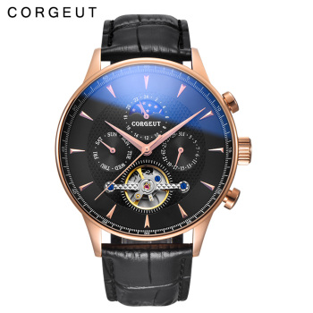 44mm Corgeut Men's Mechanical Watch Rose Gold Case Automatic Mechanical Watch