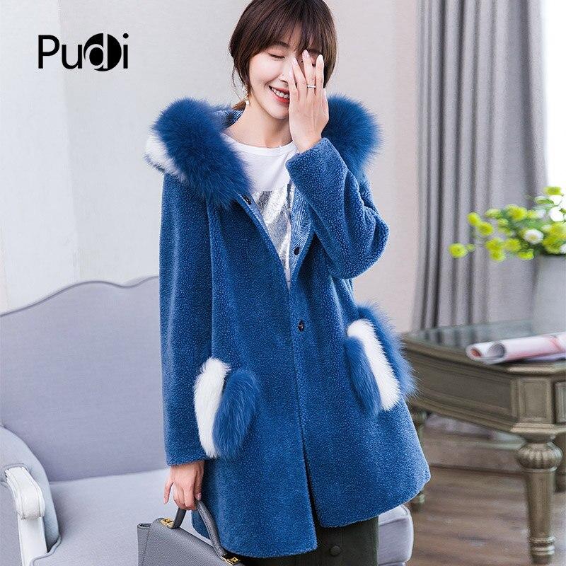 Pardessus Chaud Fourrure Pudi Veste D'hiver Réel Longue Manteau A18154 De khaki Femmes Laine Blue Dame Fille rw8qpOw1Y
