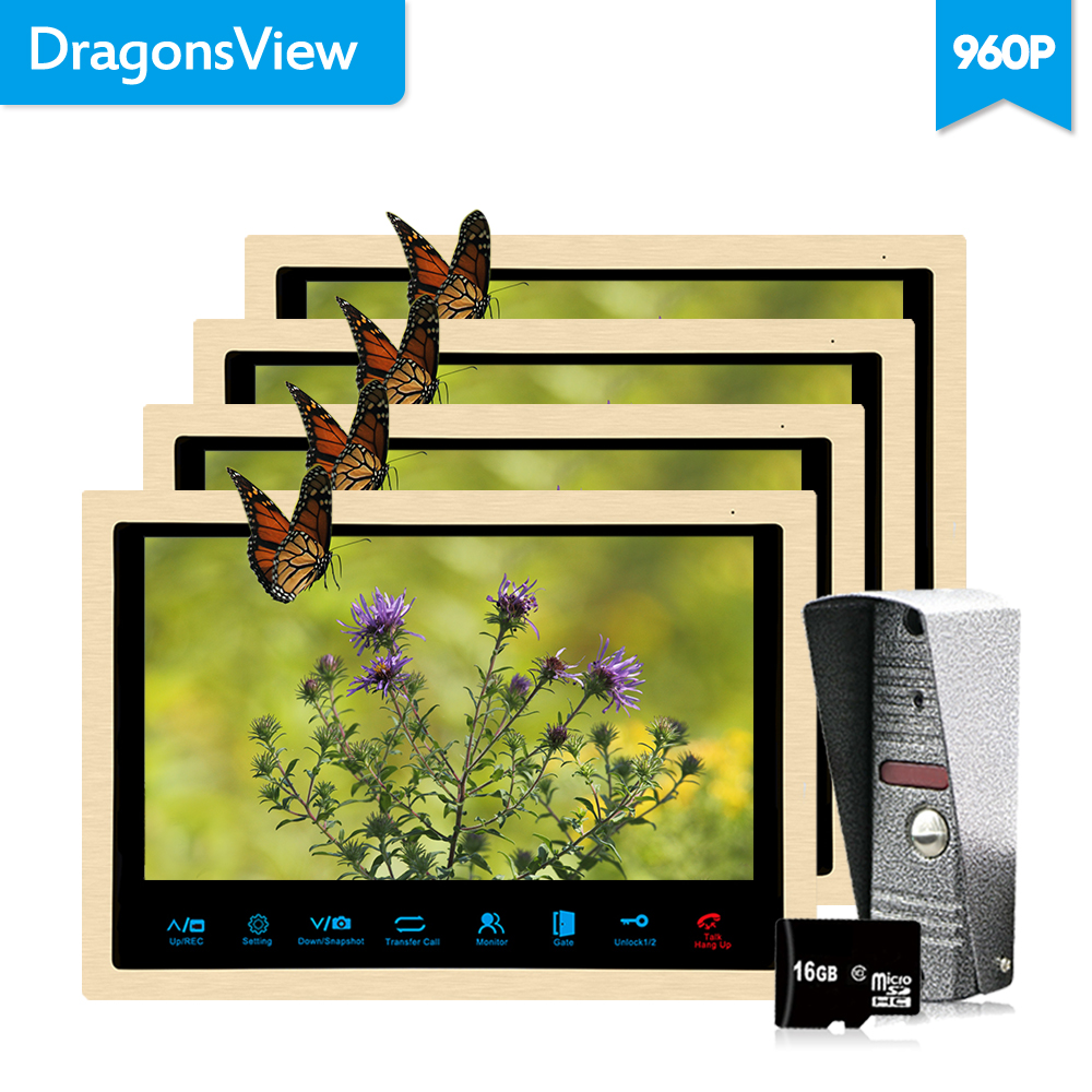 Dragonsview 10 inch AHD Video Door Phone Intercom System Camera Video-Eye Call Panel 960P 4 Golden Monitors Recording IR leds homefong 10 inch wired video door phone intercom system 720p ahd high resolution doorbell camera 4 monitors 1 call panel record