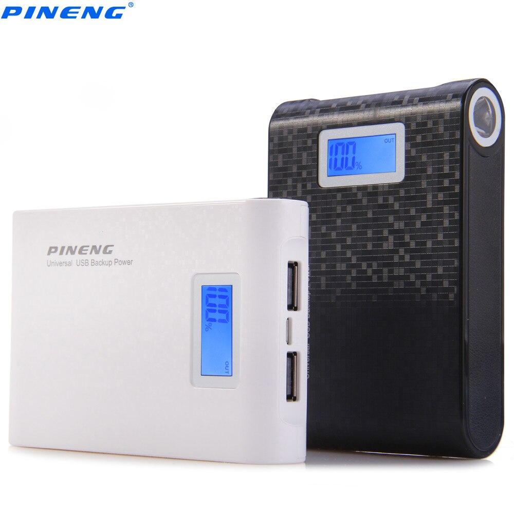 imágenes para Auténtico pineng pn-913 10000 mah banco de la energía de doble salida usb cargador de batería externo paquete con display lcd linterna