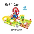 47pcs Thomas Train Toys Rail Car Children 3D Car Toy Ferris Wheel Park Building Blocks Electric Train