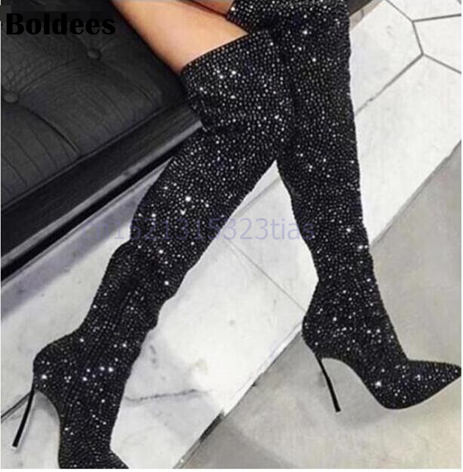 Fashion crystal women long boots pointed toe metal thin high heel shoes over the knee zipper sexy thight high booty qutaa 2017 women over the knee high boots all match pointed toe high quality thin high heel pointed toe women boots size 34 43