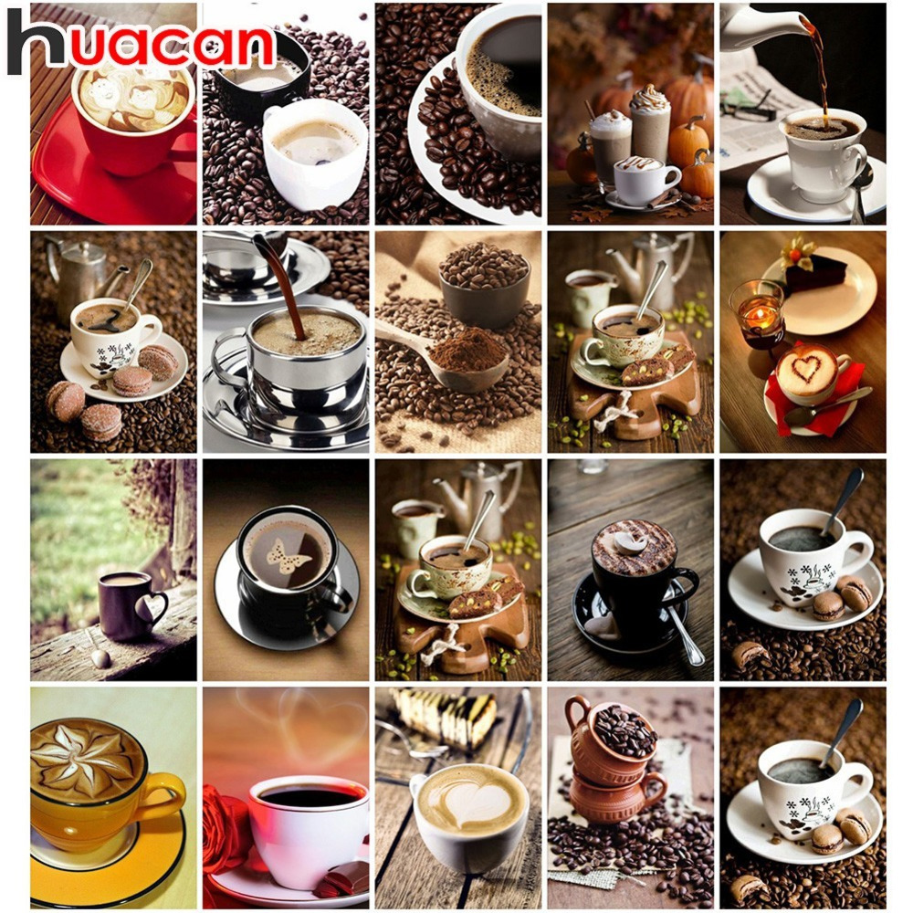 Huacan Full Square Drill Diamond Painting Cross Stitch Coffee Cups Rhinestone 5d Diy Diamond Embroidery Mosaic Home Adorn Гриль