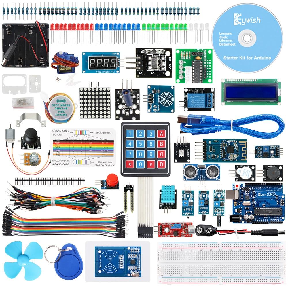 Keywish Kit de démarrage Super capteur complet RFID pour Arduino UNO R3 servomoteur/moteur pas à pas à niveau d'eau avec 28 leçons tutoriel de Code