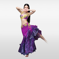 XL Size Push Up Bra High Grade Belly Dance Costumes Bra Skirt Purple Belly Dancing