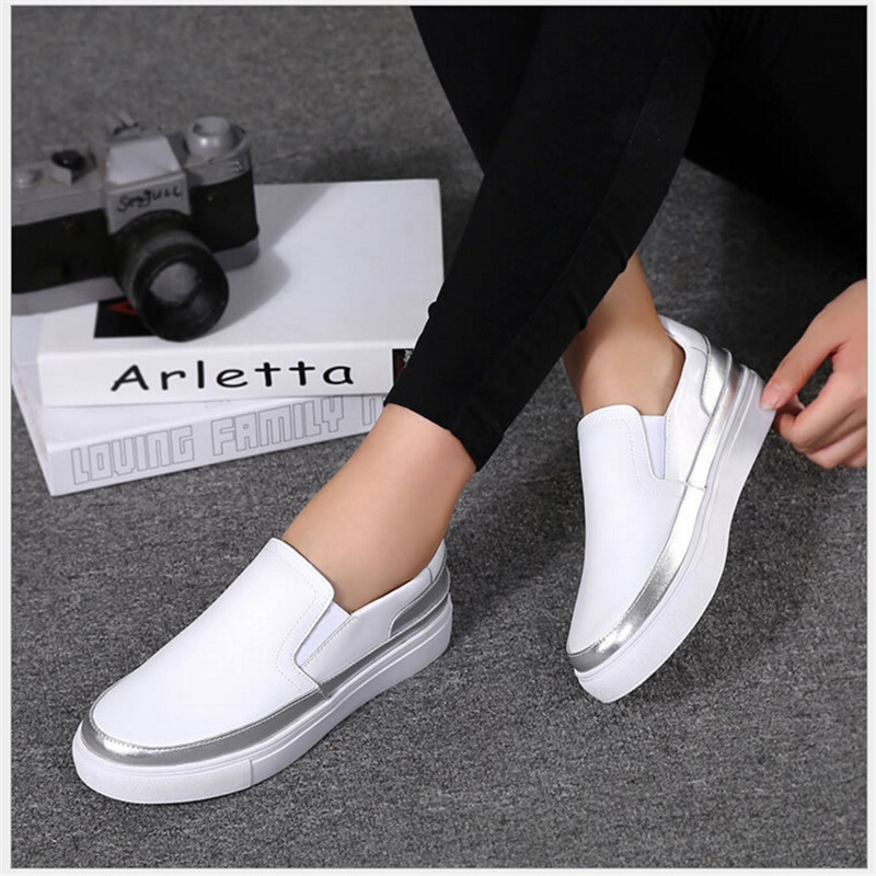 2018 summer new casual shoes high quality women's leather shoes black silver flat shoes