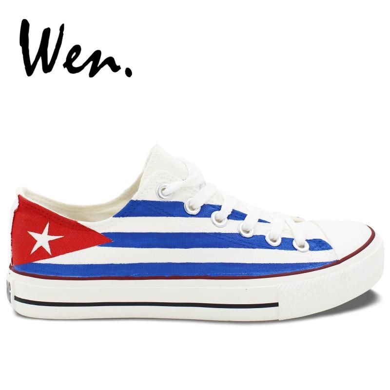 Wen Design Custom Håndmalede Sko Cuba Flag Low Top Mænd Kvinder Hvid Canvas Sneakers Platform Plimsolls Flat Lace Up