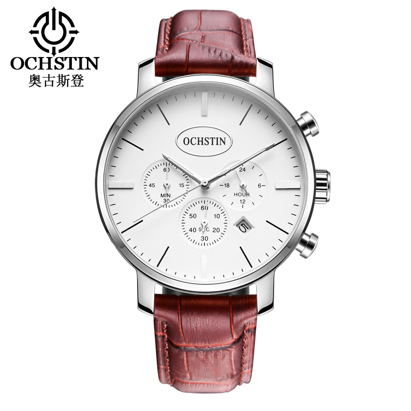 OCHSTIN Fashion Casual Mens Watches Leather Quartz-watch Chronograph Auto Date Sport Men Wrist Watch reloj hombre 066 pattous mens sports watch black genuine leather chronograph dial date sport quartz watches miyota quartz wrist watch gift box