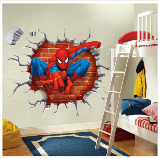 Elegant Cartoon Spider Man Squatting 3D Wall Hole Spider Man DIY Kids Room Decor  Wall Stickers Art